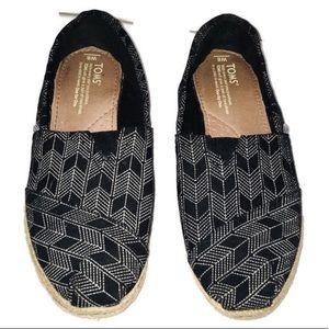 Toms Black & White Print Slip On Loafer Shoes